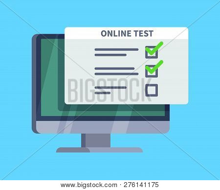 Online Test. Questionnaire Survey Form On Pc Screen. Exam List, Computer Testing And Online Quiz Vec