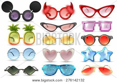 Carnival Party Masquerade Costume Glasses Heart Star Cat Eye Shaped Funny Sunglasses Realistic Set I