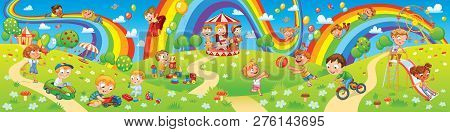 Children Playing In Playground. Kids Zone. Place For Games. Funny Cartoon Characters. Children Slide