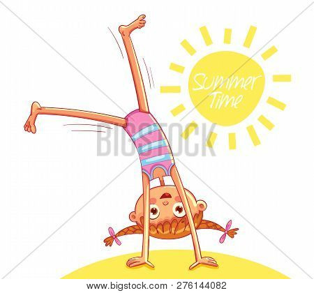 Happy Little Girl Doing Cartwheel On Sea Beach. Summer Time. Red-haired Girl With Two Funny Pigtails