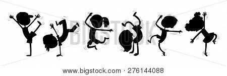 Silhouettes Of Dancing Children. Funny Cartoon Character. Vector Illustration. Isolated On White Bac