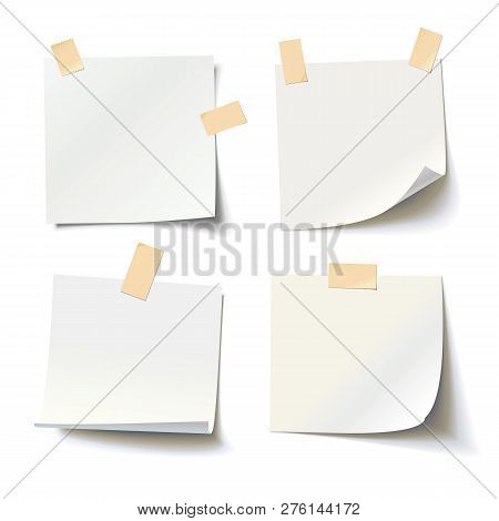 Collection Of Various White Note Papers With Curled Corner And Adhesive Tape, Ready For Your Message