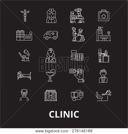 Clinic Editable Line Icons Vector Set On Black Background. Clinic White Outline Illustrations, Signs