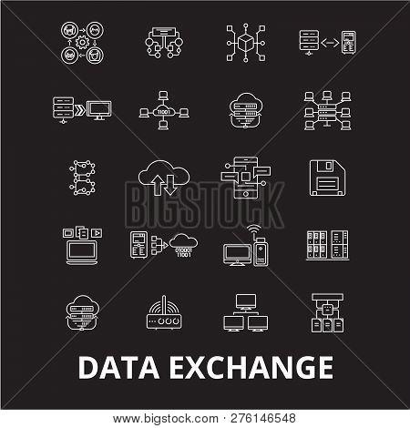 Data Exchange Editable Line Icons Vector Set On Black Background. Data Exchange White Outline Illust