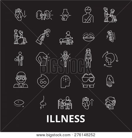 Illness Editable Line Icons Vector Set On Black Background. Illness White Outline Illustrations, Sig