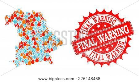 Composition Of Snowflake And Flame Map Of Germany And Final Warning Grunge Stamp Seal. Mosaic Vector