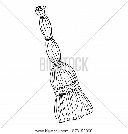 Besom Organic Broom Sketch Doodle. Hand Drawn Vector Image