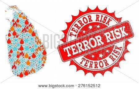 Composition Of Winter And Flame Map Of Sri Lanka And Terror Risk Grunge Stamp Seal. Mosaic Vector Ma