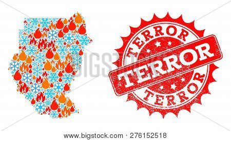 Composition Of Winter And Flame Map Of Sudan And Terror Grunge Stamp Seal. Mosaic Vector Map Of Suda