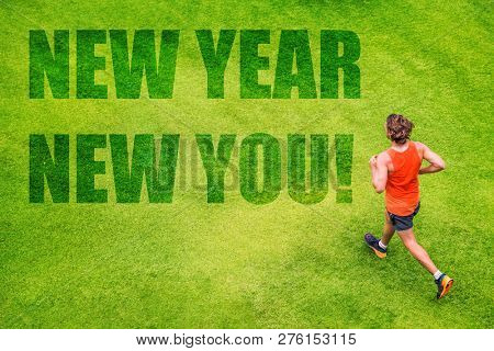 New Year 2019 Resolution happy fitness man running for weight loss on green grass background. Active people lifestyle. Jogging challenge exercise.