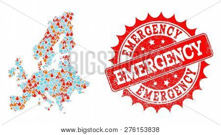 Composition Of Snowflake And Fire Map Of Euro Union And Emergency Grunge Stamp Seal. Mosaic Vector M