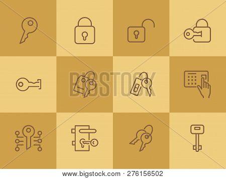 Key Line Icons. Set Of Line Icons On White Background. Safety Concept, Key, Locker, Entry Phone. Vec