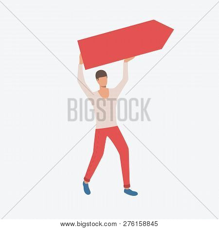 Person With Paper Arrow. Development, Ambition, Career. Can Be Used For Topics Like Business, Market