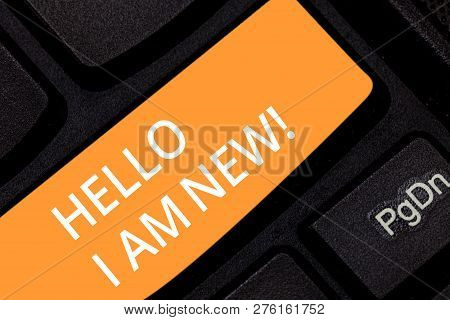 Writing Note Showing Hello I Am New. Business Photo Showcasing Introducing Yourself To Unknown Showi