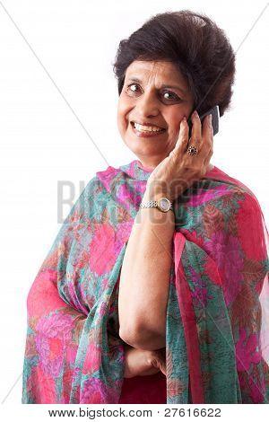 Elderly East Indian Lady Talking On Cellphone