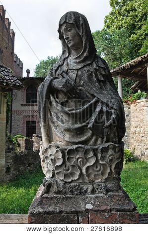 Madonna Marble statue. Grazzano Visconti. Emilia-Romagna. Italy. poster