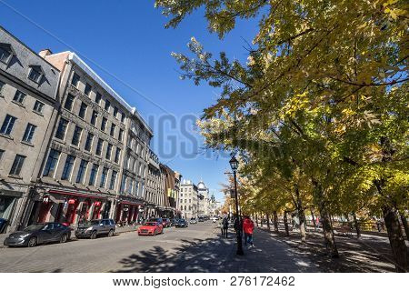 Montreal, Canada - November 4, 2018: View Of Old Montreal Seafront, Or Vieux Montreal, Quebec, In Th