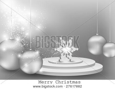 3D Snowflake on podium concept background