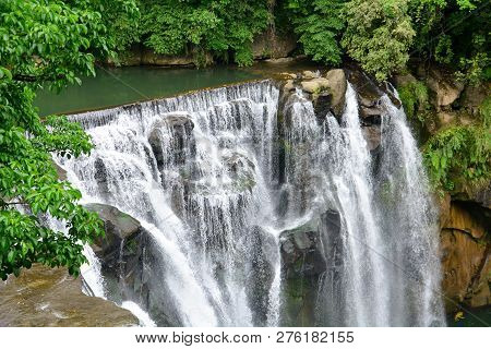 Beautiful Shifen Waterfall Scenery From Above, Shifen Waterfall Is A River Source Of Keelung River,