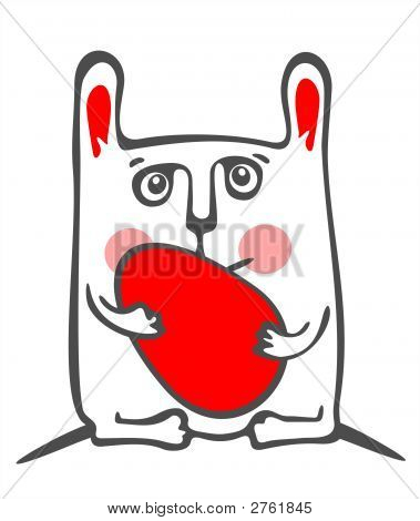 White rabbit and red easter egg isolated on a white background. Easter illustration. poster
