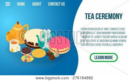 Tea Ceremony Concept Banner. Isometric Banner Of Tea Ceremony Concept For Web, Giftcard And Postcard