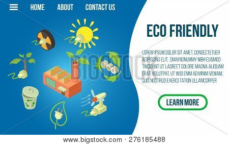 Eco Friendly Concept Banner. Isometric Banner Of Eco Friendly Concept For Web, Giftcard And Postcard