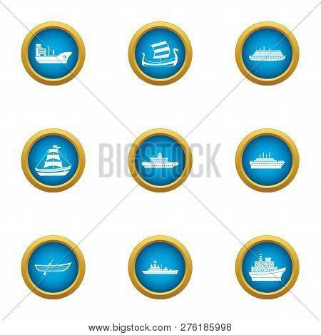 Battleship Icons Set. Flat Set Of 9 Battleship Icons For Web Isolated On White Background