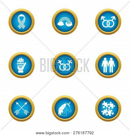 Homosexual Icons Set. Flat Set Of 9 Homosexual Icons For Web Isolated On White Background
