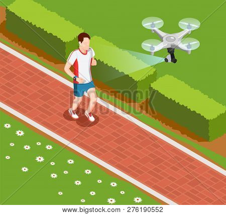 Overhead Drone Camera Providing Valuable Coaching Data In Sport Training Isometric Composition With