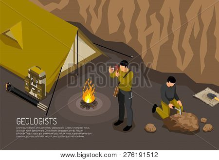 Geologists Research Fieldwork Camp Horizontal Isometric Composition With Tent Campfire Rock Samples