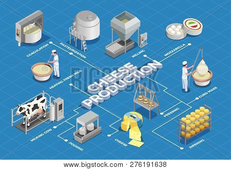 Cheese Production Isometric Flowchart Illustrated Process From Milk Yield And Pasteurization To Ferm