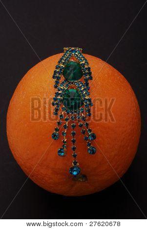 Orange on a black