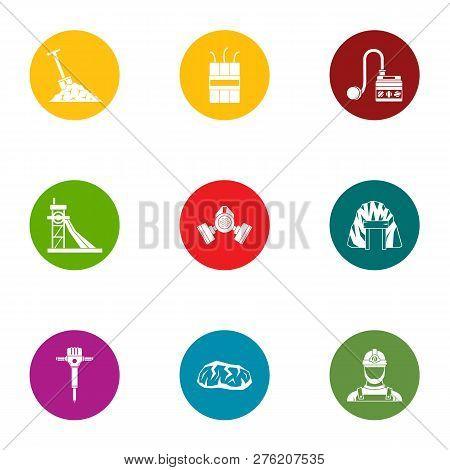 Land Work Icons Set. Flat Set Of 9 Land Work Icons For Web Isolated On White Background