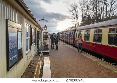 BROOMHILL, SCOTLAND - 30 DECEMBER 2018: Vintage steam train stopped at Broomhill Station, on the Str