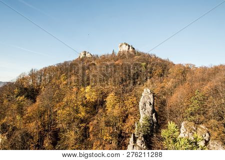 Autumn Sulovske Skaly Mountains With Sandstone Rocks, Colorful Forest And Clear Sky From Opasana Vyh