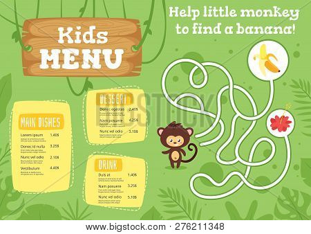 Kids Food Menu Design Template With Cute Character - Monkey On Green  Jungle Rainforest Background.