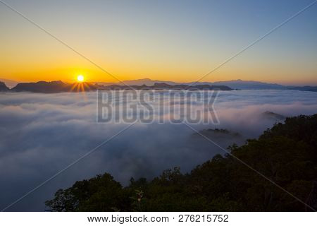 Mountain View With Foggy Environment During Sunrise In The Morning In Baan Jabo View Point Pang Maph