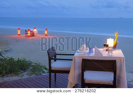 Table Setting. Resort Cafe On The Tropical Sea Beach With Beautiful View.
