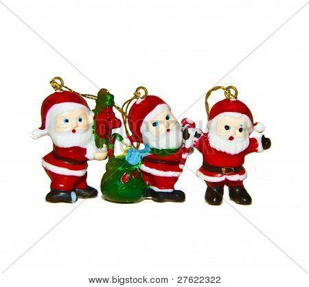 three santas stock photo