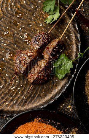Roast Mutton Kidney In A Dark Dish