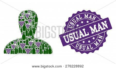 Spawn Persona Collage Of Alcohol Bottles And Grape And Grunge Stamp Seal. Isolated Vectors In Green