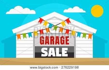Home Garage Sale Concept Banner. Flat Illustration Of Home Garage Sale Vector Concept Banner For Web
