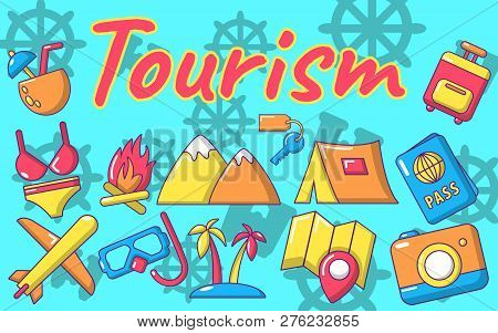 Tourism Concept Banner. Cartoon Banner Of Tourism Vector Concept For Web, Giftcard And Postcard