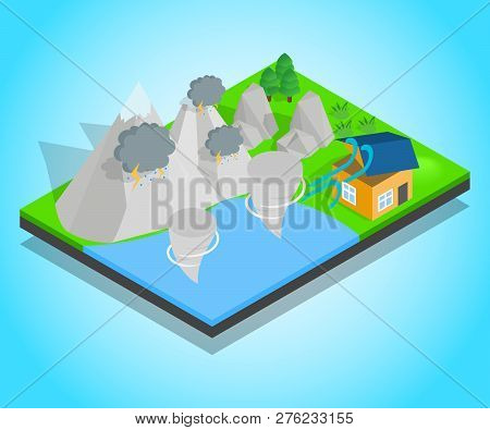 Hurricane Concept Banner. Isometric Banner Of Hurricane Vector Concept For Web, Giftcard And Postcar