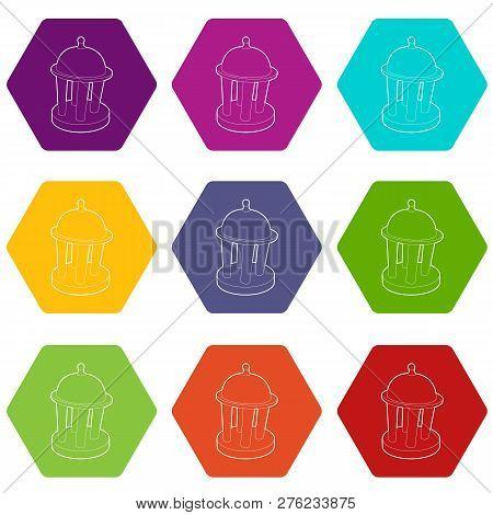 Rotunda Icons 9 Set Coloful Isolated On White For Web