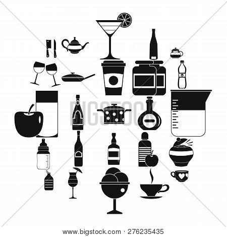 Crockery icons set. Simple set of 25 crockery vector icons for web isolated on white background poster