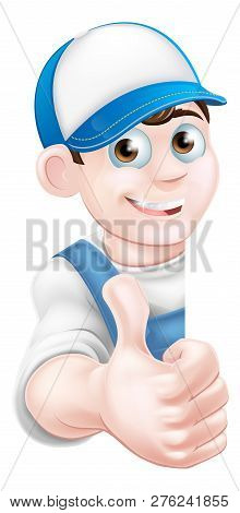 Cartoon Mechanic, Plumber, Handyman, Decorator Or Gardener Man Peeking Around A Sign And Giving A Th