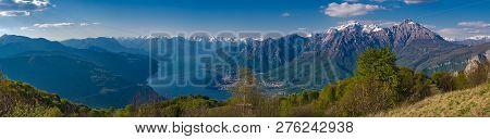 Lake Como As Seen From Hikitg Trail To Corni Di Canzo, Lombardy, Italy