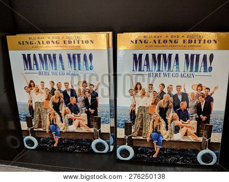 Fox Hills, Culver City, California -  October 25, 2018:  Mamma Mai! Here We Go Again Blu-ray, Dvd, D
