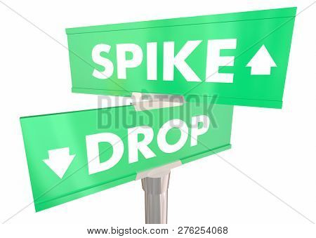 Spike Vs Drop Rise or Fall Two 2 Way Street Signs 3d Illustration